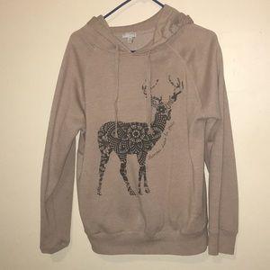 Tan hoodie with deer size Large